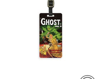Luggage Tag Vintage Ghost Comic Covers , Printed Personalized Metal Tag, Single Tag   Custom information on Backs