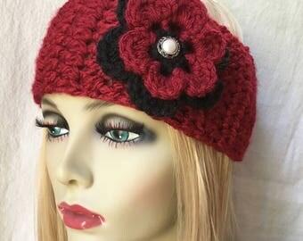 Red Crochet Headband Ear Warmer, Ski Headband, Choose Color, Chunky, Gifts for her, Birthday Gifts, Christmas Gifts, Handmade HBJE467HB1