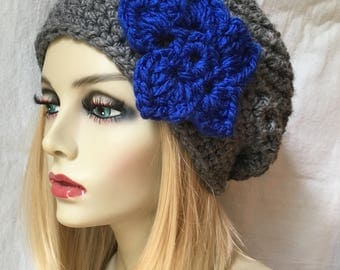 Air Force Falcons Football Hat, Crochet Womens Hat, Slouchy Beret, Gray, Royal Blue, Birthday Gifts for Her Girls Teens JE699SBTF1