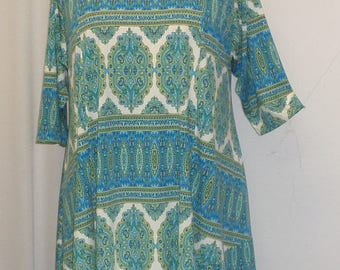Coco Juan, Lagenlook Plus Size Top, Asymmetrical Tunic Top, Women's Tunic Top, Turquoise, Print Knit Size 1 (fits 1X,2X)  Bust 50 inches