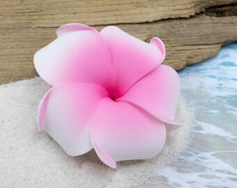 Pink Flower  Hair Clip, 3 Inch Plumeria,   Flower Hair Clip,   Plumeria Accessory, Tropical Flower Clip