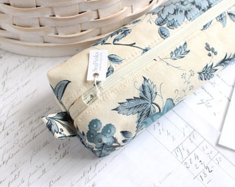 Blue and White Floral Pencil Case Boxy Pouch Navy Blue and Cream Zipper Pouch Blue and White Pencil Bag
