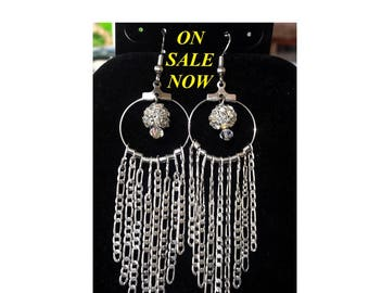 Sterling Silver long chain Earrings with a Rhinestone Fillagree ball