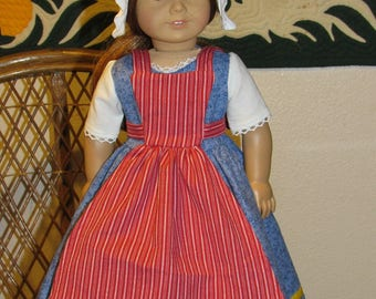 1770s Colonial Town Fair Outfit Dress Apron Cap American Girl Felicity Elizabeth 18 inch dolls