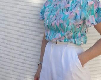Womens Blouse Vintage Floral Pastel
