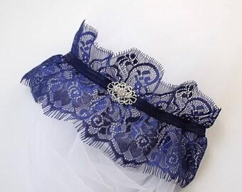 Katherine Wedding Garter, Navy Blue Garter, Chantilly Lace Garter, Vintage style Garter, Navy Wedding Garter, Blue Lace Bridal Garter