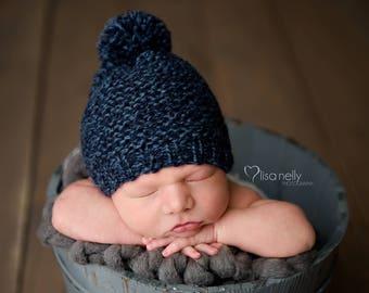 Newborn Pom Pom Hat, Newborn Hat Boy, Newborn Photo Prop Boy, Knit Newborn Hat, Knit Newborn Boy Hat, Baby Pom Pom Hat, Baby Pom Pom Beanie