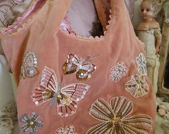accessorize handbag, pink velvet purse, sequins seed beads,  butterfly embroidery, pink velvet handbag