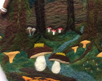 The Mushroom Kingdom of King and Queen Bolete - Felted Wool Wall Hanging