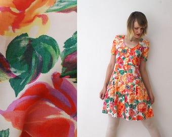 80s 90s floral skater dress. button front mini dress. floral summer dress. watercolor print dress - medium