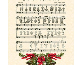 JOY To The WORLD Christian Holiday Home Decor Vintage Verses Sheet Music Wall Art Christmas Art Evergreen Mistletoe Bells Watts Handel Sale