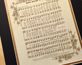 HOW GREAT THOU Art Christian Home or Office Decor Black & Gold Matted Hymn Wall Art Vintage Verses Sheet Music Wall Art Inspirational Sale