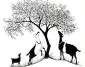 Reserved for Lyric Hill: Original Ink Drawing for Logo Design, Alpines and Tree. Dairy Goat Art. Digital File