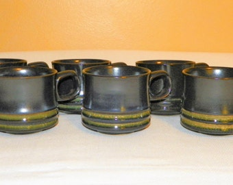 Denby Stoneware Coffee Cups, Set of 6, Deep Navy Blue with Lime Green Bands, MINT Condition