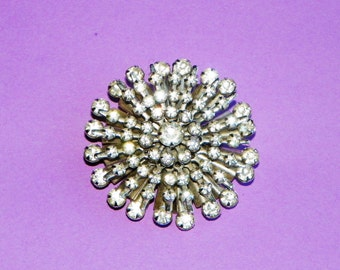 "Silver and Rhinestone Brooch or Pin,  1 3/4"" Round and 5 Layers of Rhinestones in a Starburst Silver Setting"
