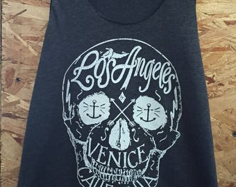 Los Angeles Venice, CA Skull Art Print Ladies Tank Top American Made Athletic Gray Tri-Blend