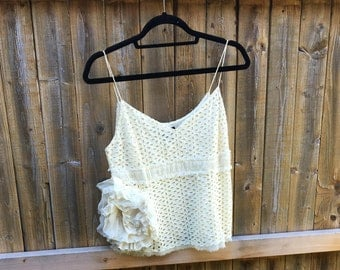 Altered Lady's Yellow Eyelet Camisole with Large Satin Flower Trim, BoHo Tank, Size 4, Romantic, Dainty, Feminine, Shabby Chic Top, Small