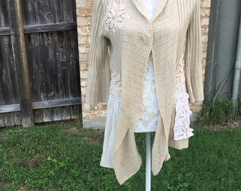 Refashioned Altered Cardigan, eige sweater, shabby cottage chic lace doilies, Small,Feminine Dainty Sweater, Mori-Girl Style Sweater,Tan Top