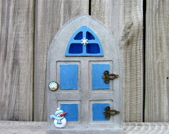 Elf Prop, Christmas Fairy Door, Elf, Fairy, Sparkly, Silver, Blue, Christmas Decor, Holiday Elf, Painted Wood, Childs Gift