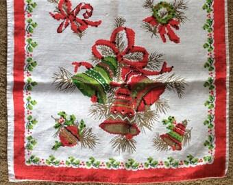 Vintage Christmas Bells Tea Towel