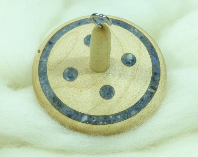 Lluna Hand-Turned Maple / Sodalite Drop Spindle-Top Whorl 24 Grams