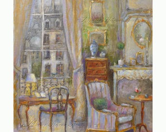 Charming Parisian Interior art scene  painting - French interior -  Lounge-study with large bay window over Paris   - by Helen Flont