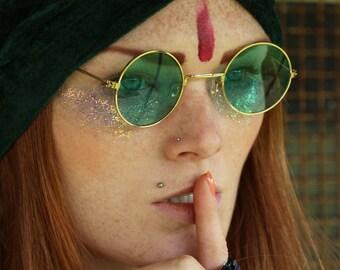 60's 70's round green lense John Lennon sunglasses with gold frames hippie