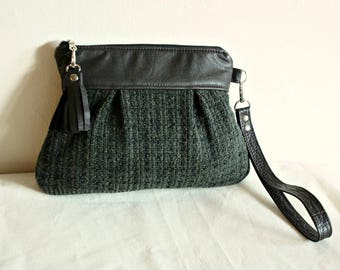 Sweater Wristlet Clutch Pouch in Heather seaweed green sweater material & Chocolate leather- READY TO SHIP--