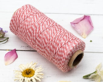 Pink Bakers Twine, Cotton Twine, 410 Feet, 2ply Twine, Craft Twine, Card Making Twine,   Vintage Rose,   - BT1
