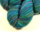 Hand Dyed Sock Yarn - Sock Weight Superwash Merino Wool Yarn - Aegean Multi - Indie Knitting Yarn, Fingering Yarn, Turquoise Blue Green