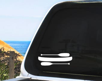 Canoe with Two Paddles Vinyl Decal, Multiple Colors - For Any Non-Porous Surface, Indoor / Outdoor