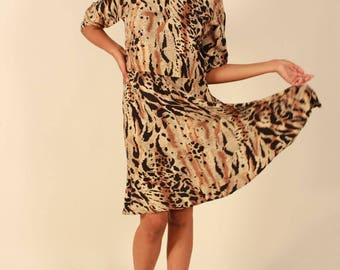 Vintage 80's Animal Print Long Sleeve Dress