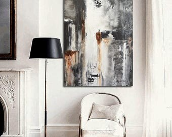 Original Art Large Painting Modern Art Gray Black and White Painting Abstract Oil Acrylic Painting Urban Contemporary Art by Sky Whitman