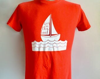 Vintage Men's 80's T Shirt, Red, White, Boat, Short Sleeve (S)