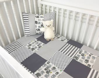 Baby Blanket, Nursery Decor, Patchwork Quilt, Minky Baby Blanket, Nursery, Elephant, Gray, Grey, White, Elephants, Baby Boy, Baby Girl