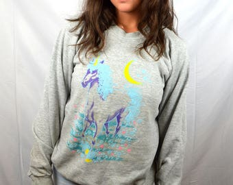 Amazing 1980s Unicorn Pastel Sweatshirt