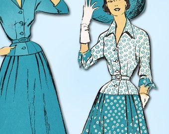 1940s Vintage New York Sewing Pattern 1187 Uncut Misses Street Dress Size 12 30B