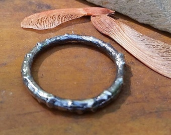 Sterling Twig Ring ~ Oxidized Ring Nature Inspired Antiqued Branch Ring Stacking Minimalist Ring