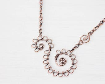 Wire Wrapped Double Spiral Copper Necklace, Antique Solid Copper Chain