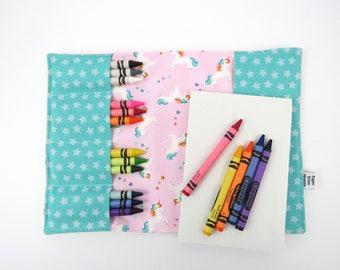 Crayon Notebook - Rainbow Unicorn - coloring book, activity pad, crayon wallet, notepad, artfolio, kids coloring