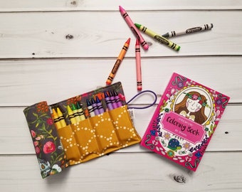 Crayon Roll - Budquette Nightfall  - flower crayon holder, toddler gift, girls gift, preschool coloring, kids journaling, big sister gift