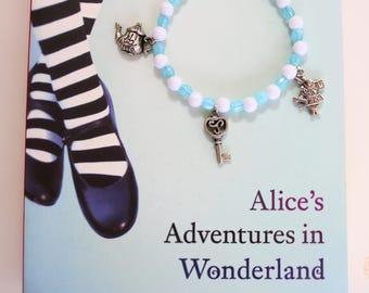 Alice in Wonderland inspired Pastel Blue and White Charm Bracelet.