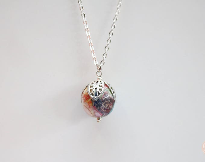 Rainbow Marbelled Robjant Couture Necklace in Silver.
