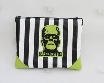 Frankenstein creature green purse- creepy striped pouch-gothic - make up bag- steampunk-halloween- horror movie