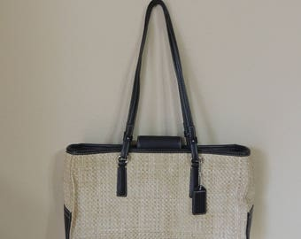 Small Coach Straw and Leather Purse. Black Leather Trim on Natural Woven Coach Handbag. Lightweight Beige Coach Shoulder Bag.