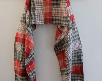 Upcycled Cotton Flannel Shirt Scarf,  Patchwork Wrap, Red Orange Plaid, Pojagi scarf,  Boro Scarf