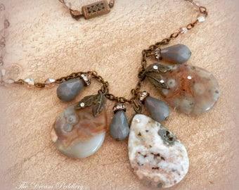 Sargasso Sea. Ocean Jasper and Crystal Necklace