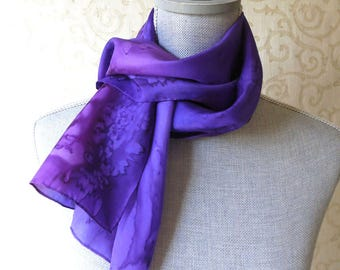 Skinny Silk Scarf Hand Dyed in Purples