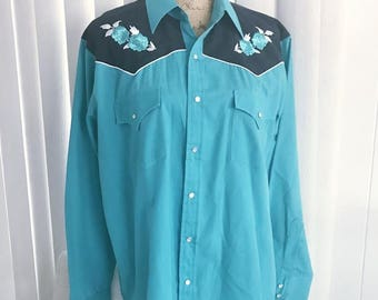 Vintage Guy's Turquoise and Black Embroidered Roses Western Shirt -- Size L