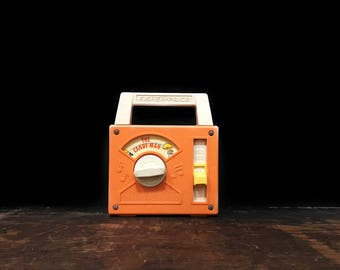 Vintage Fisher Price Music Box, Candy Man Music Box, Wind Up Radio, Vintage Nursery Toy, Orange